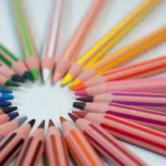 Coloured pencil in a circle